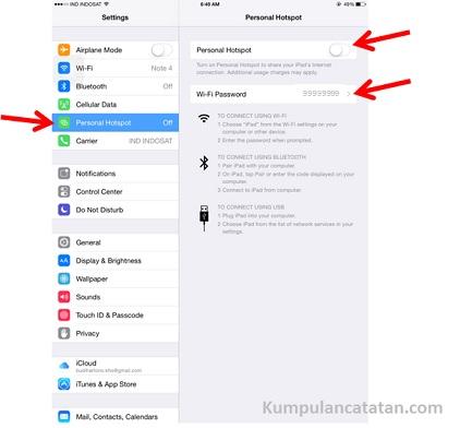 Mengaktikan Personal Hotspot di Ipad Air (Perangkat iOS)