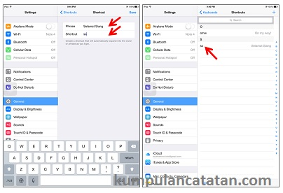 Cara Membuat Shortcut Keyboard ipad air dan iphone