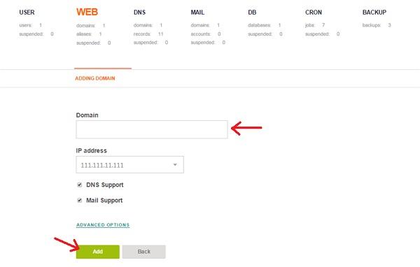Tambahkan nama Domain dan IP Address di Vesta CP