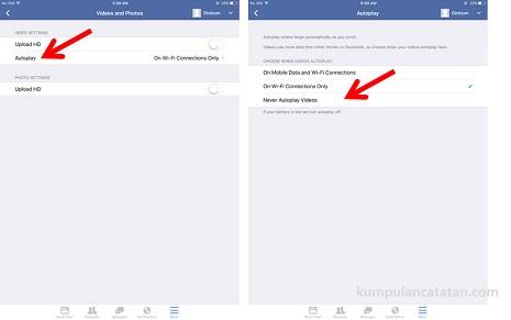 Cara Menghentikan Auto Play Video Facebook pada iPad Air 2