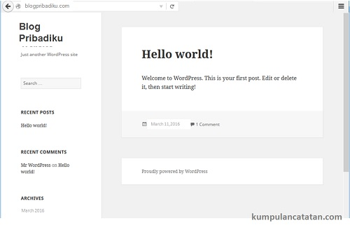 Sukses- Cara Install Wordpress ke VPS DigitalOcean melalui Serverpilot