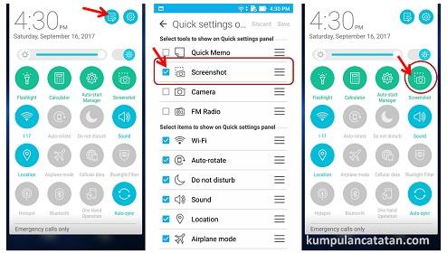 Cara Mengambil Screenshot pada Zenfone 3 dengan Quick Setting Panel