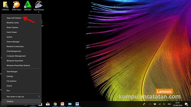 Menu Control Panel di tombol Start Windows 10