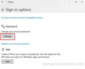 Ganti Password di Sign-in options