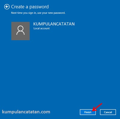 Cara Membuat Password di Windows 10 - Finish