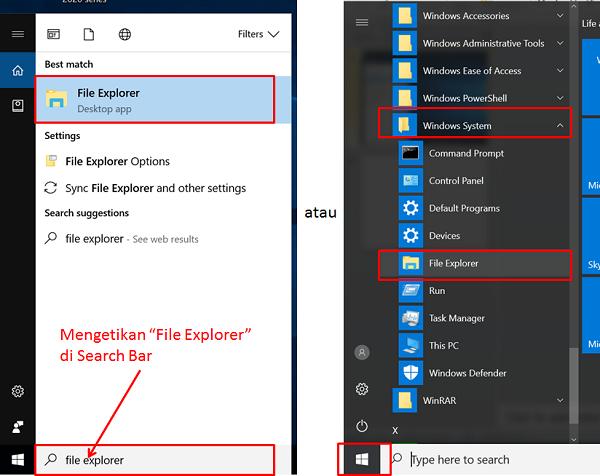 Mencari File Explorer