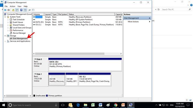Window 10 Computer Management untuk membuat partisi baru