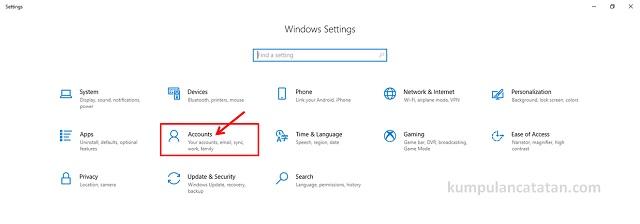 Windows setting (Accounts)