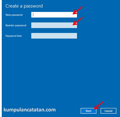 Create Password (membuat password baru) di windows 10