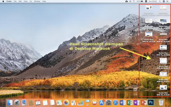 hasil screenshot dishpan di desktop MacBook