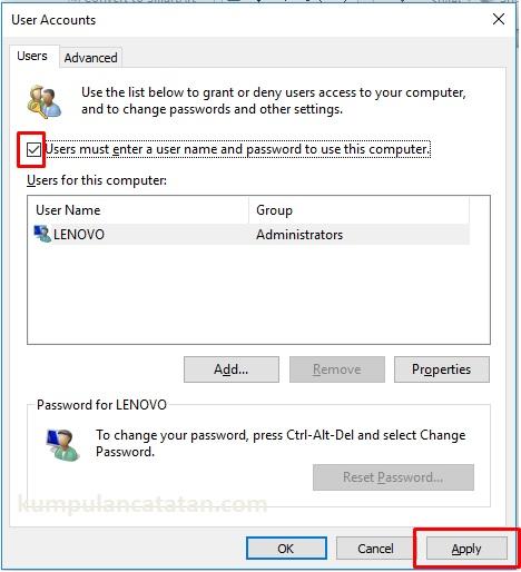 hilangkan centang password di login windows 10