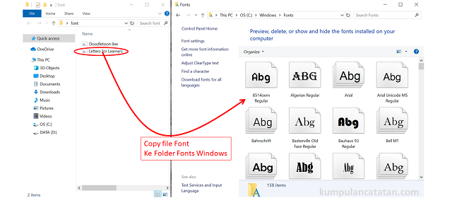 Cara Install Font ke Windows 10