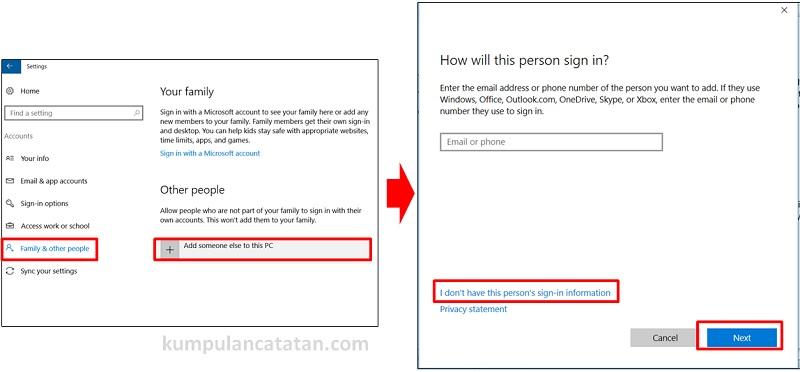 membuat user account windows 10