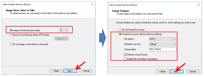 New simple volume wizard (Menentukan Volume Label dan nama Drive)