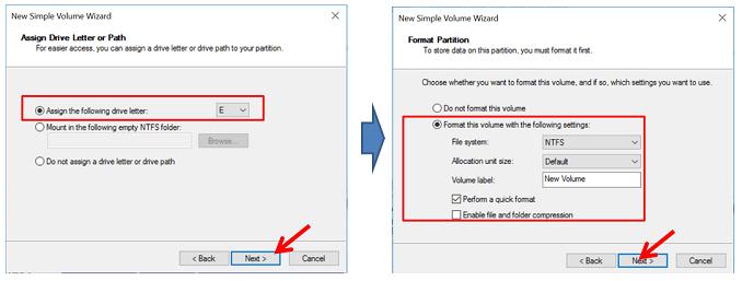 New simple volume wizard (Menentukan Volume Label dan nama Drive)