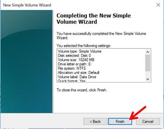 New simple volume wizard (selesai) - langkah terakhir membuat partisi baru di windows 10