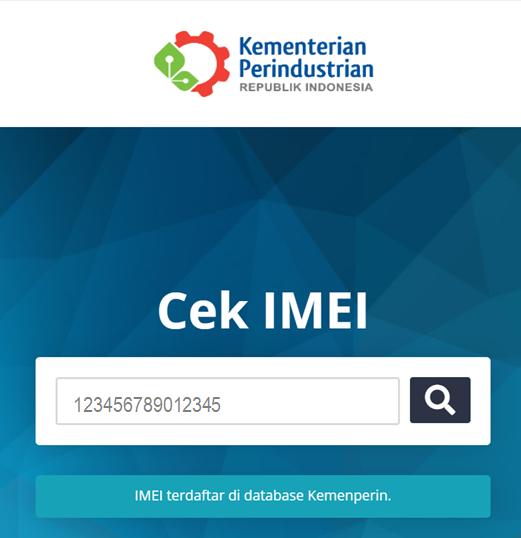 IMEI terdaftar di database Kemenperin
