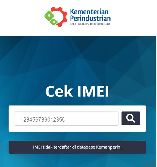 IMEI tidak terdaftar di database Kemenperin