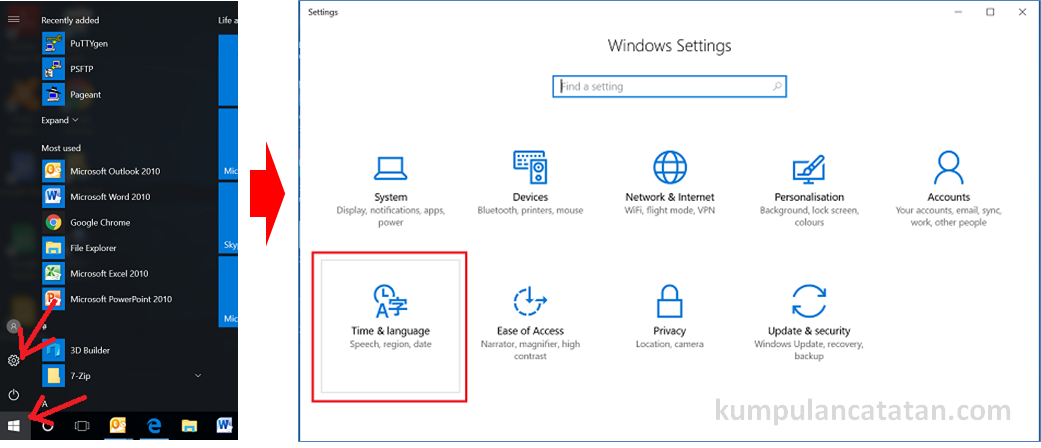 windows setting - time and language