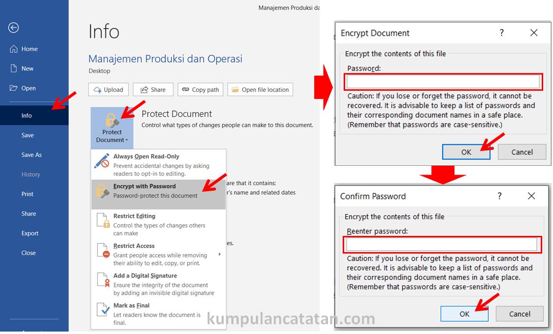 Cara Membuat Password pada Dokumen Word - Melalui opsi Protect Document