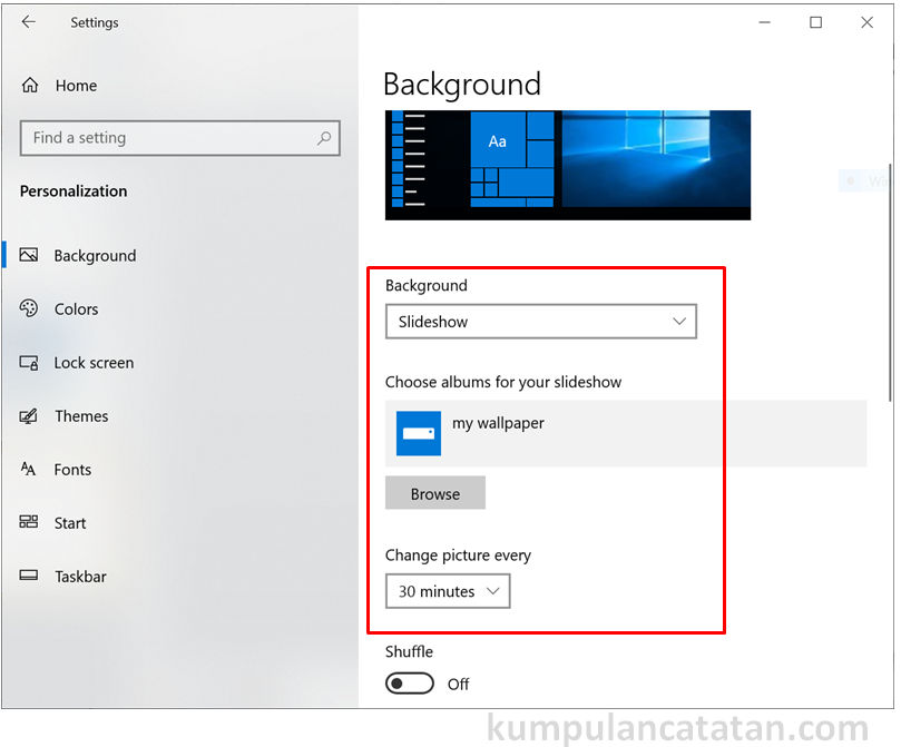 Menu setting Background untuk ganti wallpaper menjadi slideshow di laptop windows 10