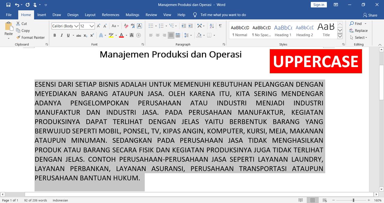 hasil UPPERCASE di Microsoft Word