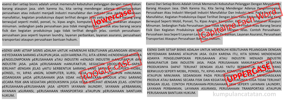 fungsi change case di microsoft word