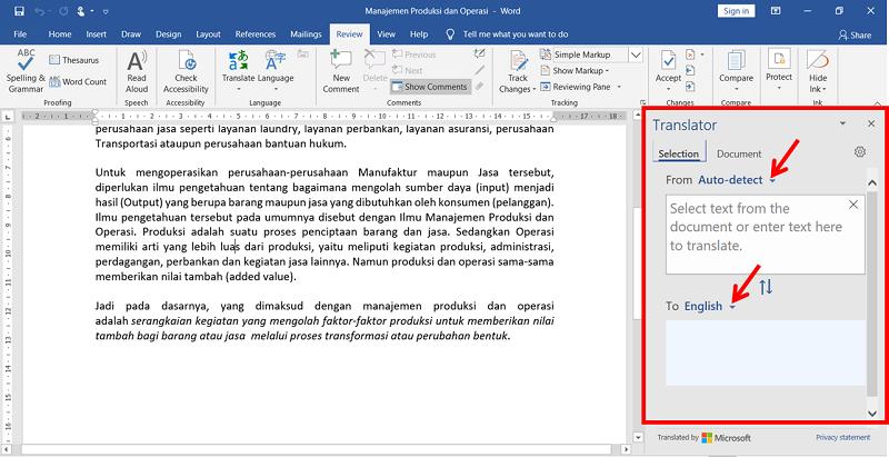 kotak translator dalam ms word