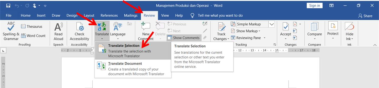 langkah-langkah menterjemahkan bahasa dokumen word