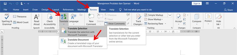 langkah-langkah menterjemahkan bahasa keseluruhan dokumen word