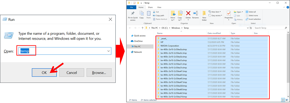 Cara Menghapus File Cache Windows 10 dengan folder temporary files langsung