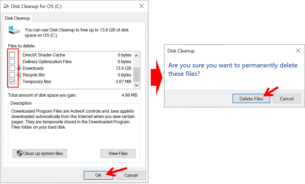 cara clear cache dengan Disc Cleanup for OS