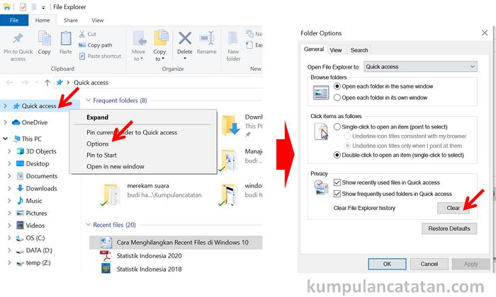 cara membersihkan recent files di quick acces file explorer windows 10