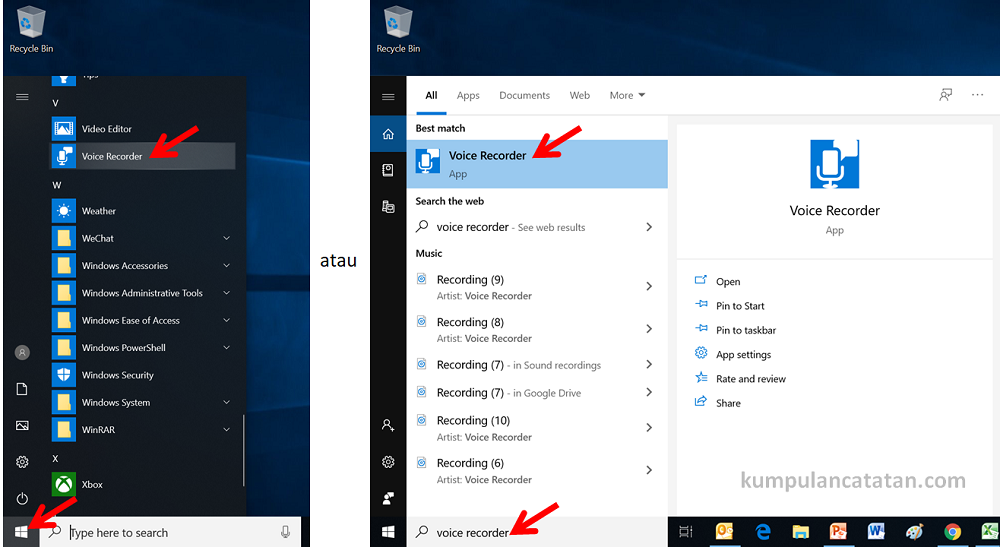 cara membuka voice recorder windows 10