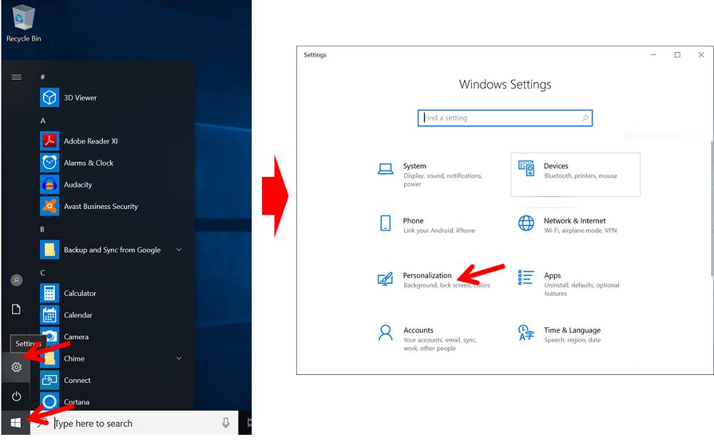 menu windows setting