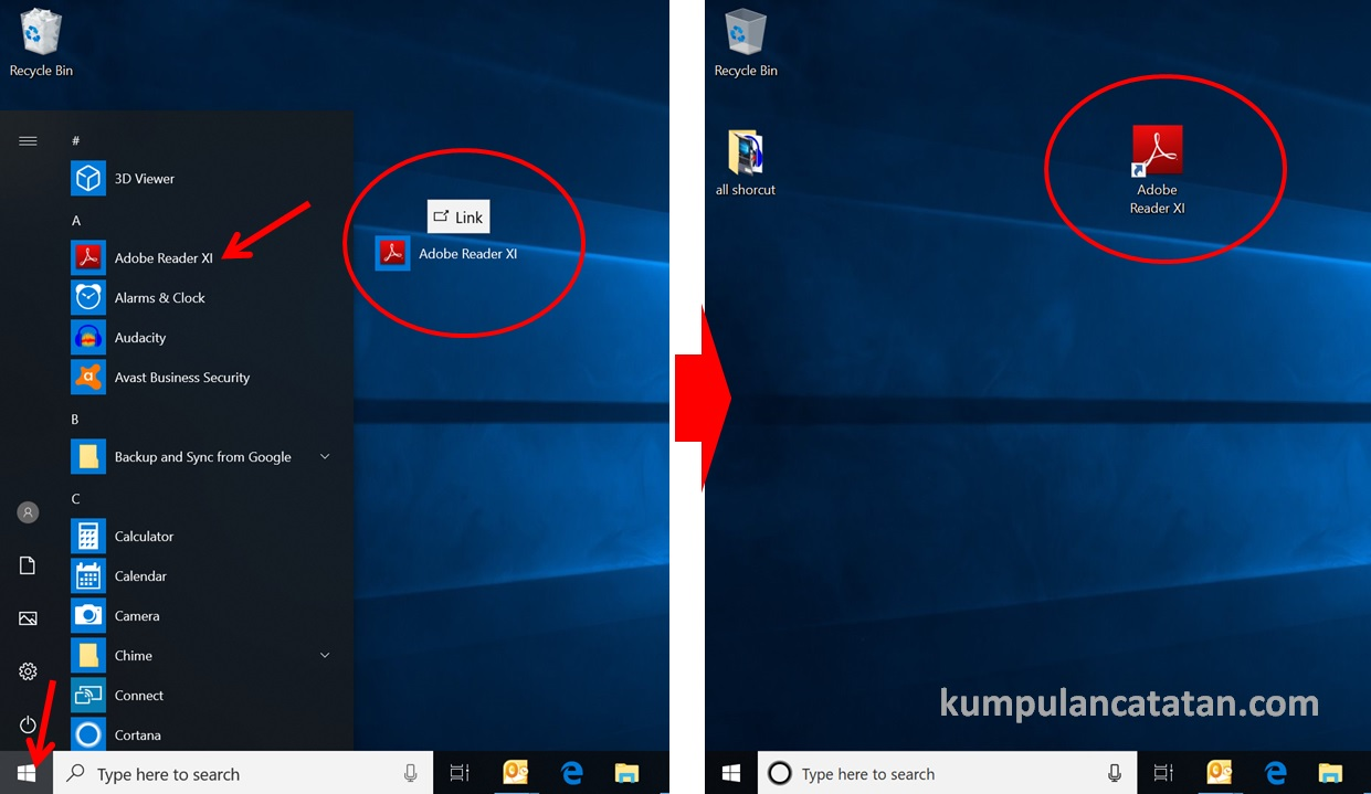 membuat shortcut aplikasi di windows 10