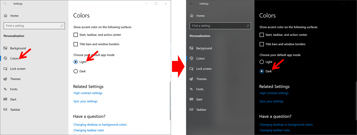 Cara Mengaktifkan Dark Mode di windows 10 - menu personalization - terang dan gelap