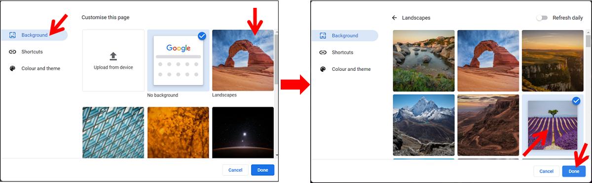 cara mengganti wallpaper google chrome dengan gambar yang disediakan oleh chrome di pc atau laptop